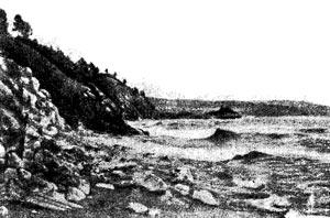 Разрушенный прибоем берег (южный Байкал).